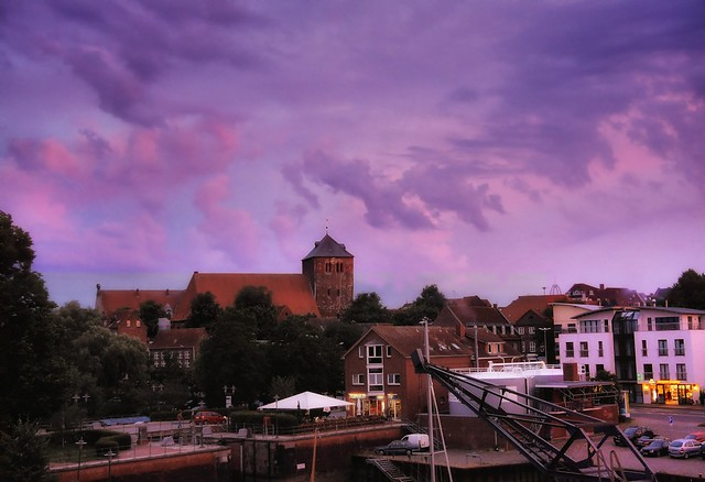 A pink afternoon in the old town Stade outside Hamburg, Germany