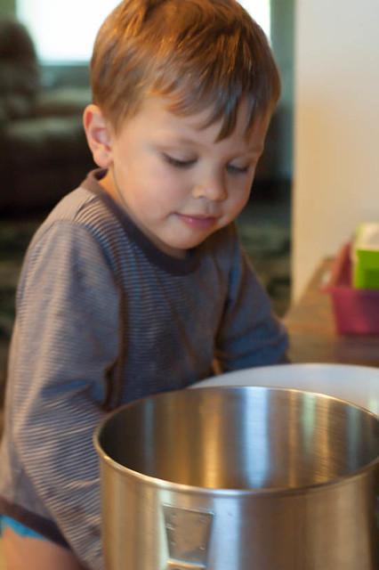 noah looking into yogurt cake batter