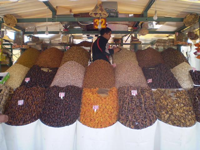 A dried fruit seller at the Djemaa el Fna