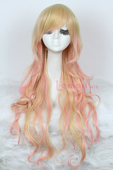 70cm long beige+pink wave cosplay hair wig CW208