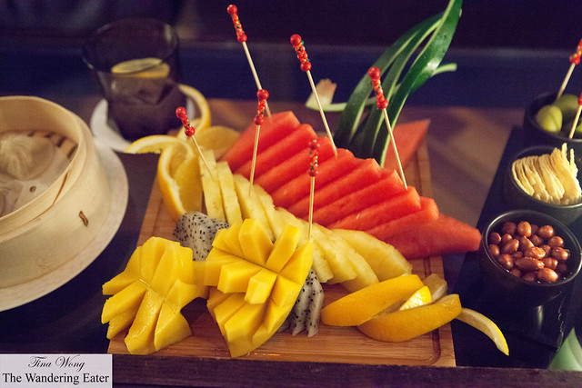 Fresh fruit platter of mangos, dragon fruit, watermelon, pineapple and oranges