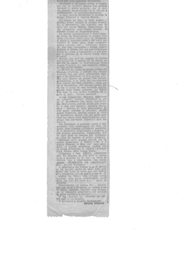 """Articolo di Bruno Scalco sul Velo Club Schio  - pag. 2  L'articolo  è stato ritagliato dal giornale dell'epoca dai membri della società Veloce Club di Schio di allora - pubblicato sul  """"IL GAZZETTINO"""" agosto 1936"""