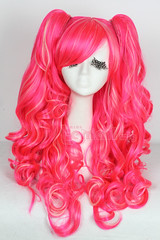 60cm long Deep pink /beige wave lolita cosplay wig ZY67B