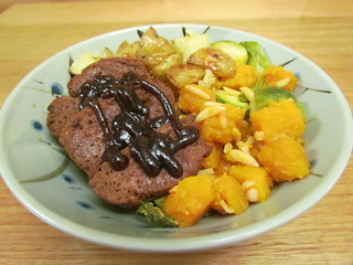 Barbecued Seitan; Lemon-Kissed Brussels and Butternut Squash