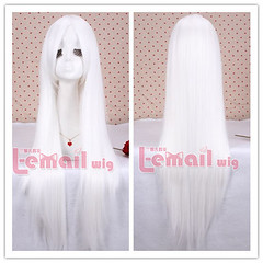 80cm long white straight cosplay hair wig CW280-G