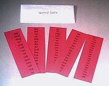 Pink Word List Cards