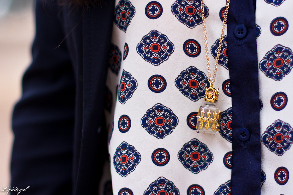 medallion print blouse, navy blazer, black pants-5.jpg