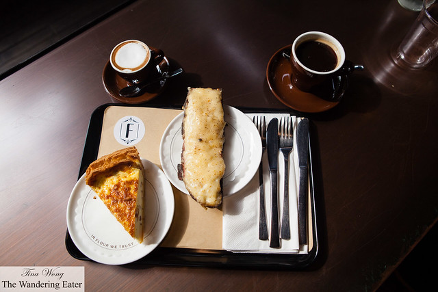Savories - Quiche Lorraine and Croque Monsieur with Macchiato and Americano coffees