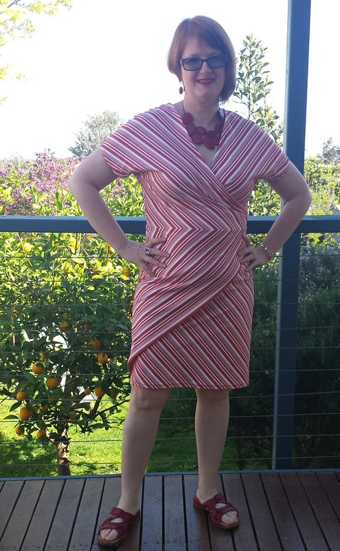Style Arc Tia Knit Wrap Dress in fabric from Darn Cheap Fabrics