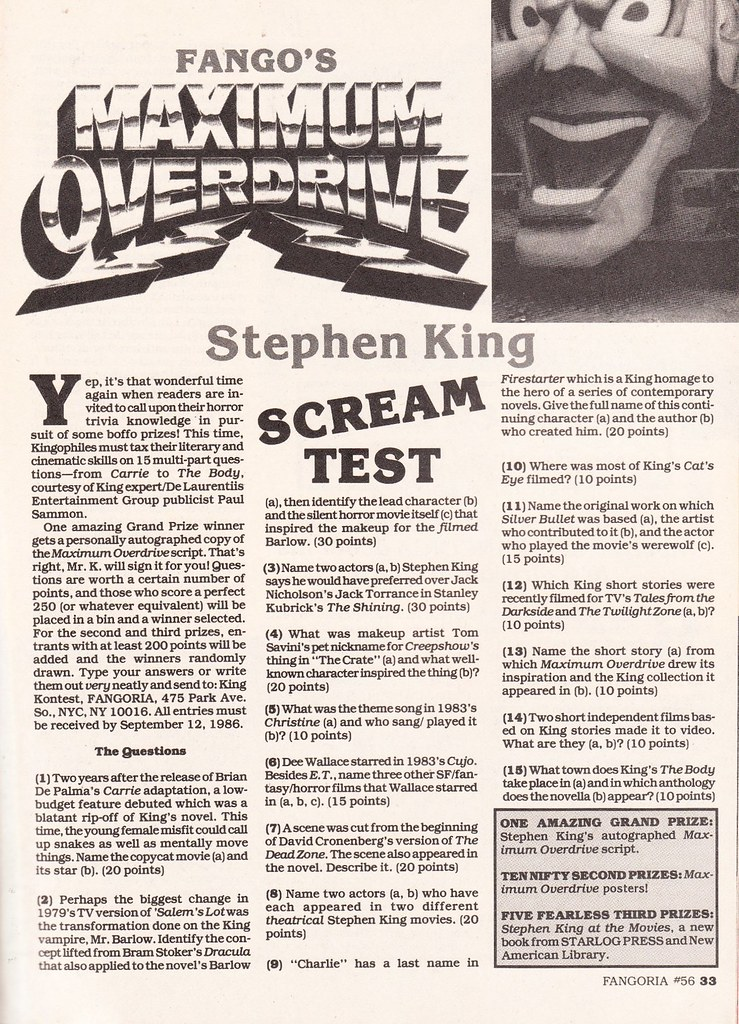 Fango Stephen King Scream Test