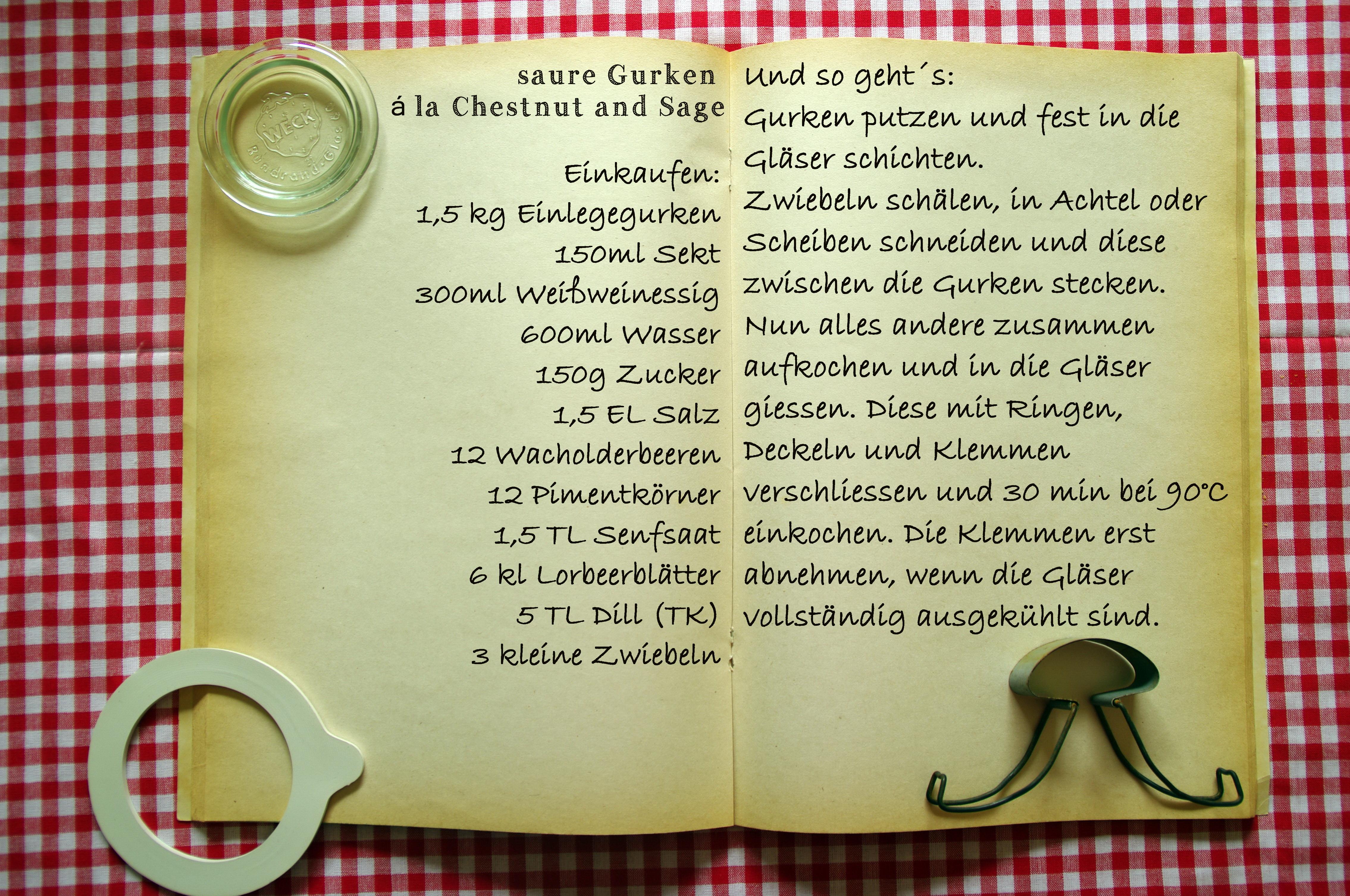 Einkaufszettel Gurken a la Chestnutandsage