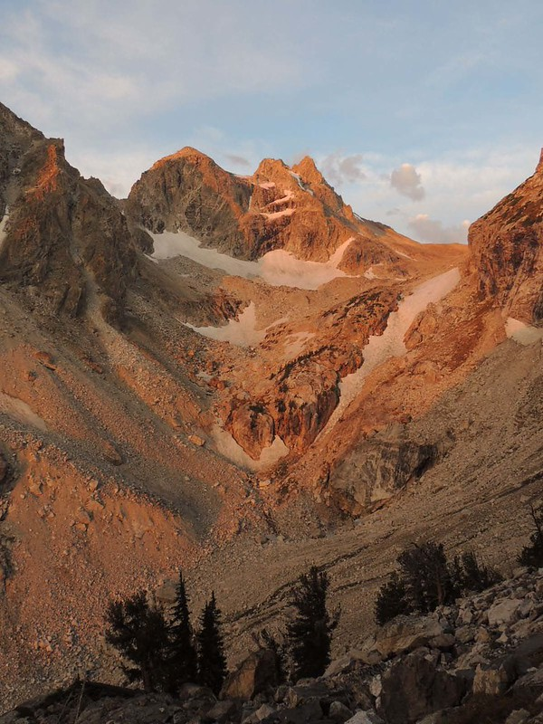 The next morning was surprisingly warm. The alpenglow on the South Teton was worthy of a painting.