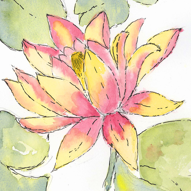 Flower - watercolour and ink