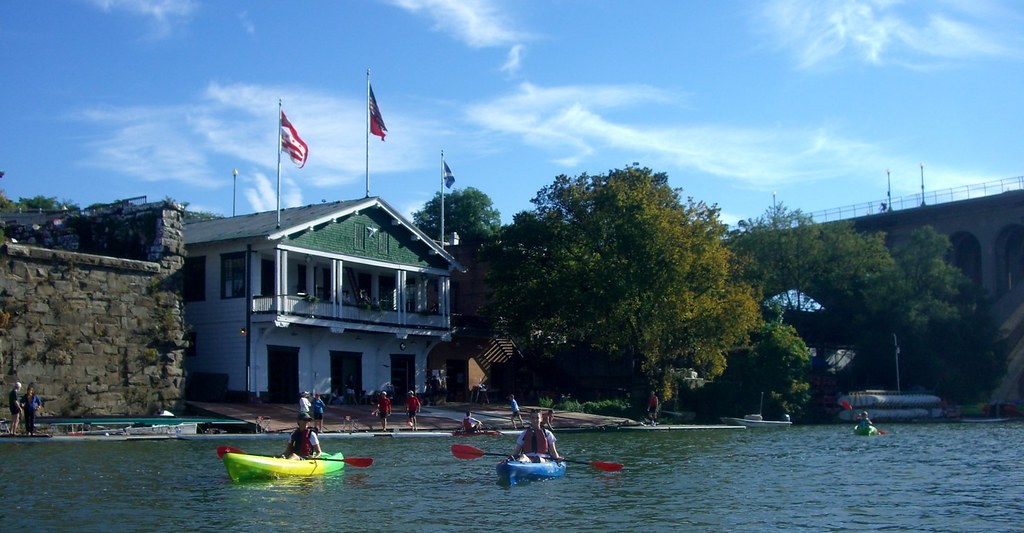 Kayak in front of boat club
