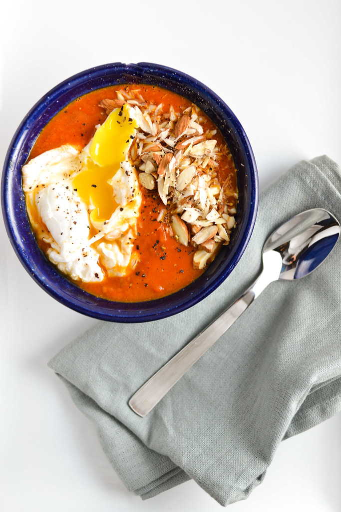 tomato soup with poached egg and almonds | things i made today