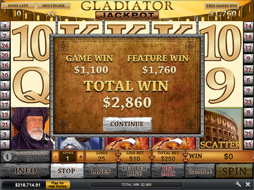 Gladiator Jackpot.Gladiator is a progressive slots jackpot that may be won at online casinos that have games from Playtech.We have been tracking this jackpot since October and on average it has paid $1,, €, £, per win and is won every 13 weeks.Playtech does not permit players from the United States to play its games.