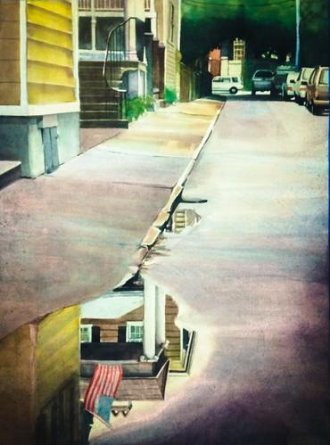 street rain truck watercolor painting puddle south charleston carolina bfgdb
