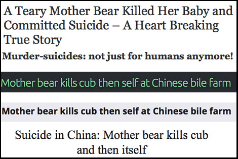 "Headlines on a ""suicide bear"""