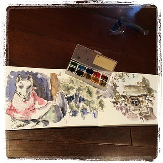 #japon #urbansketch #moleskine #watercolor #muji #carbon #platinum