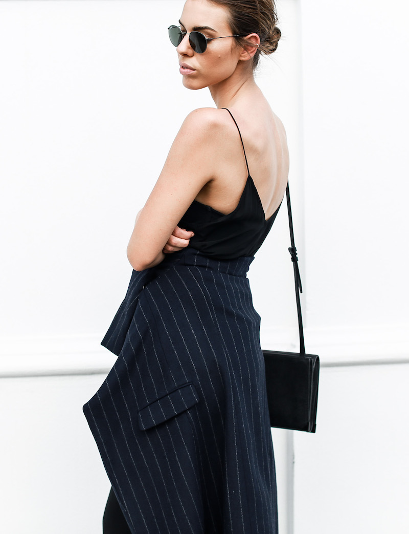 modern legacy fashion blog Australia pinstripe Zara coat street style Topshop cami silk slip dress Senso navy loafers Alexander Wang Envelope Prisma bag (1 of 1)