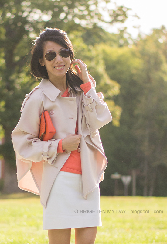 15487713501_light pink trench cape coat, orange tee, white skirt, orange clutch