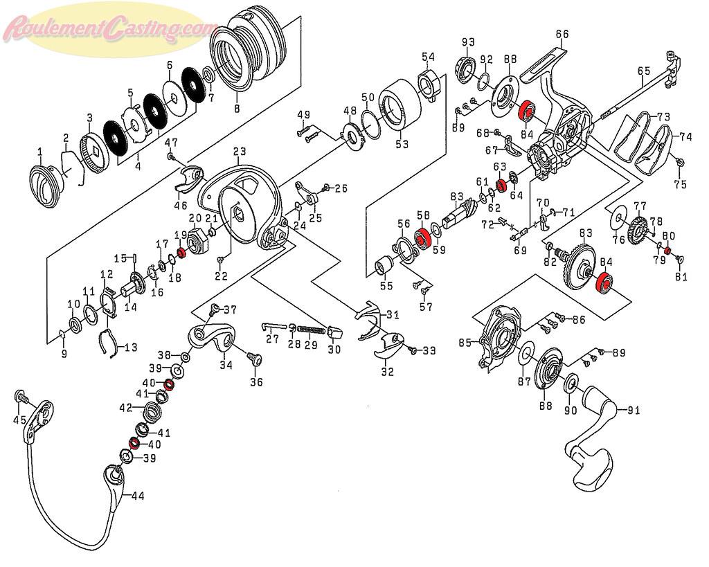 Schéma Daiwa Certate 2508RH Hi Gear Custom