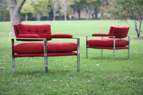 Irrepressible Vintage Flat Bar Chrome Upholstered Lounge Chairs (U.S.A. 1970s)