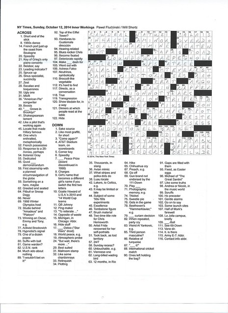 NYT Sunday Puzzle - October 12, 2014