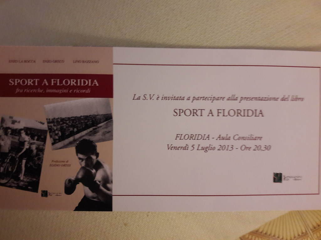 Sport a Floridia - invito per la presentazione del libro (2013)