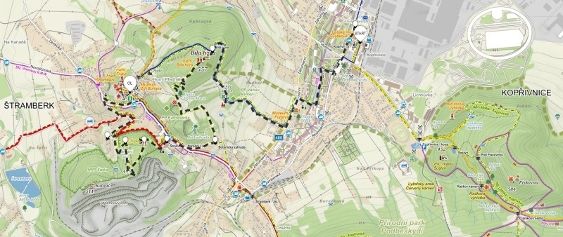 5. trasa z Kopřivnice přes Bílou horu – 8 km (propozice + mapa)