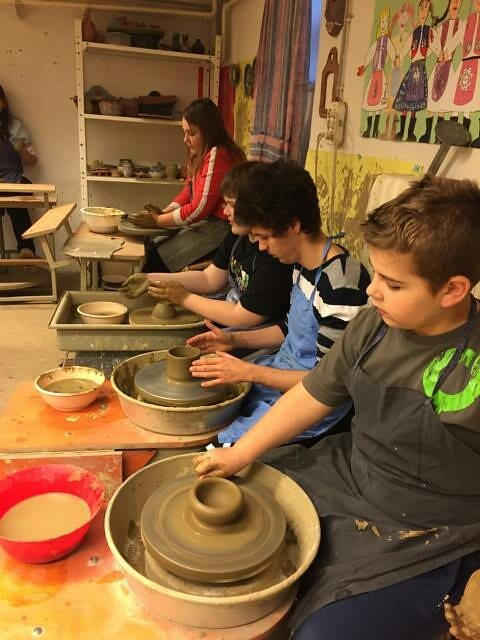clay pottery practice in the Art School