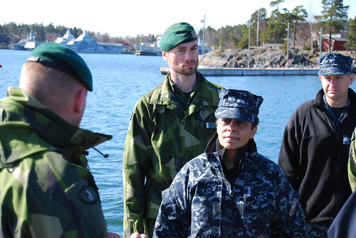 Mon, 04/03/2017 - 09:28 - 170403-N-N0901-007 HANINGE GARRISON, Sweden (April 3, 2017) Swedish military personnel meet with Adm. Michelle J. Howard, commander, U.S. Naval Forces Europe-Africa, during a visit to Haninge Garrison, April 3, 2017. U.S. Naval Forces Europe-Africa, headquartered in Naples, Italy, oversees joint and naval operations, often in concert with allied, joint, and interagency partners, to enable enduring relationships and increase vigilance and resilience in Europe and Africa. (Courtesy photo by Swedish Maj. Kristina Swaan/Released)