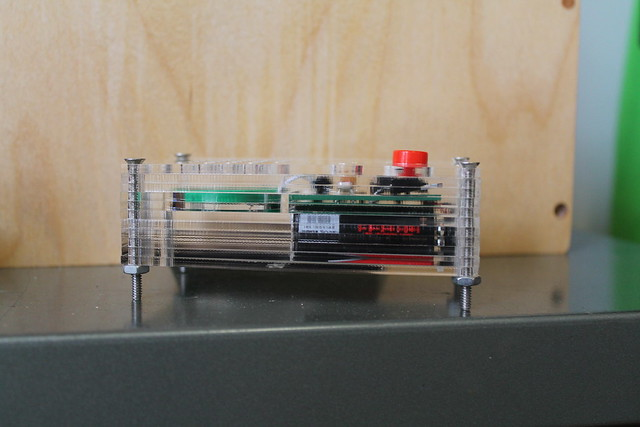 Side view of stacked acrylic project enclosure
