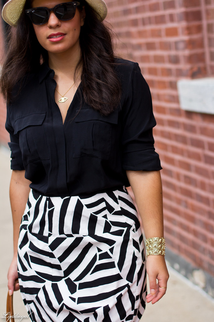 black blouse, printed skirt, panama hat-1.jpg