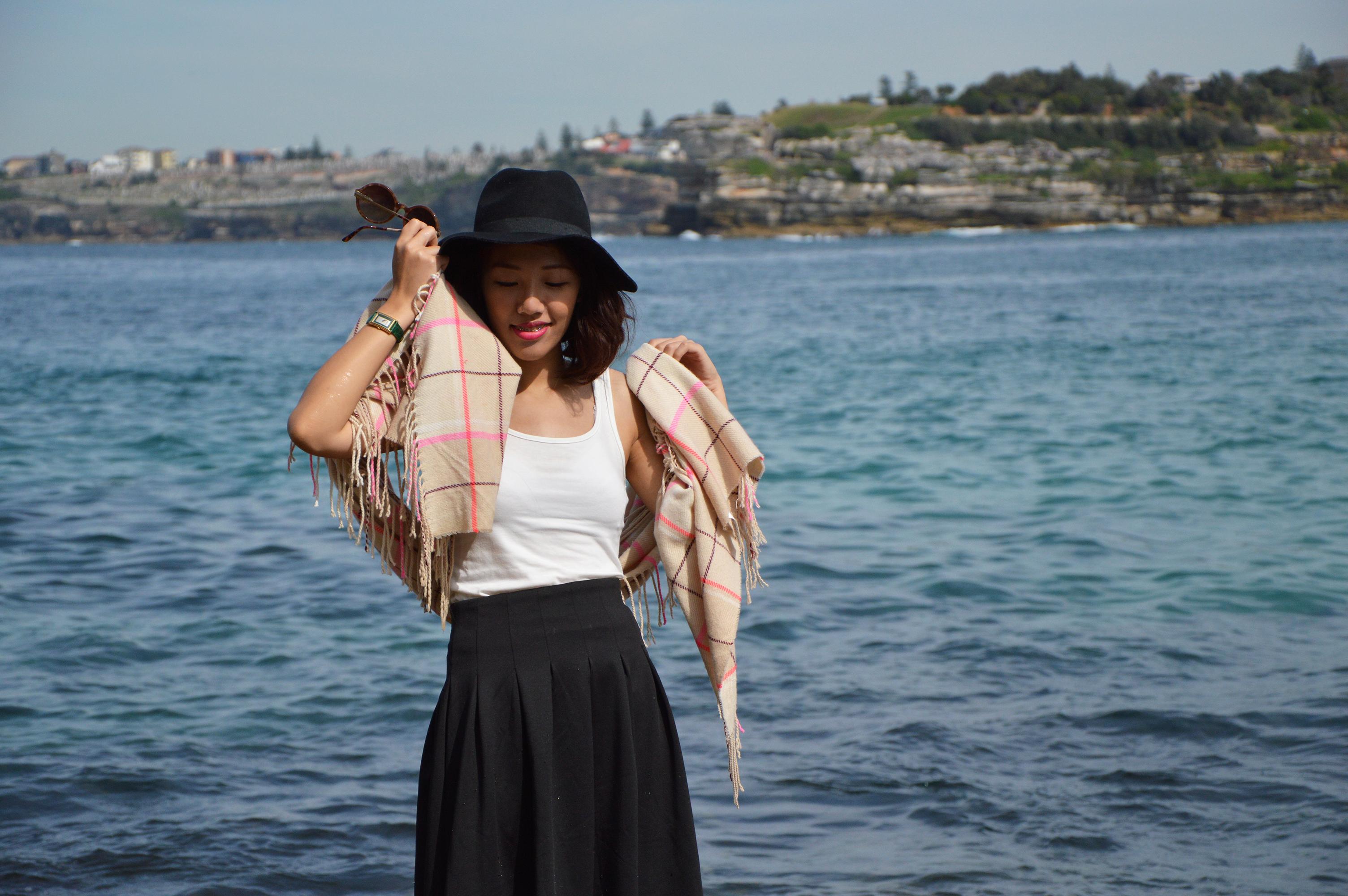 Bondi Beach, Sydney, floppy black hat, checkered scarf, black midi skirt