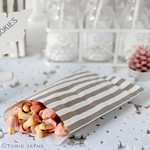 silver & white stripe bags