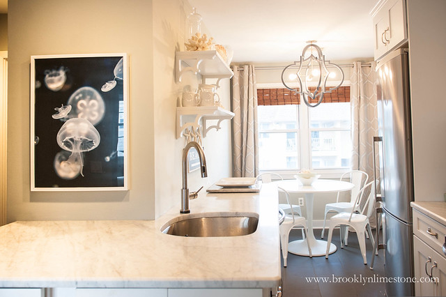 Shore Kitchen with Jellyfish artwork | www.brooklynlimestone.com