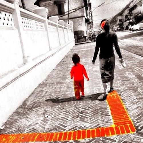 Pattern. Luang Prebang. Laos. Lao. Travel. woman. child. stranger. people. Candid. street life.