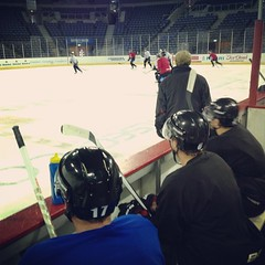 Mike Kompon, Robby Sandrock & Jeff Mason watch on during this morning's on-ice session at the Odyssey Arena! #Belfast #hockey #belfastgiants