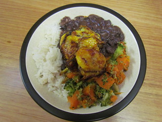 Caribbean Vegetables with Coconut Rice and Plantains
