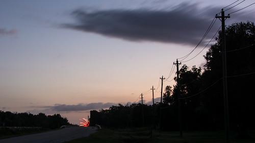 silhouette rural sunrise countryside nikon texas unitedstates firework lighttrails telephonepoles danbury leadinglines