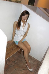 White sleeveless shirt and Floral tight miniskirt_4_End