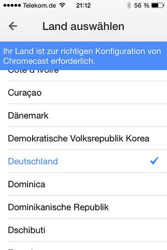 15 - Google Chromecast - Land auswählen