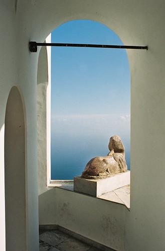 travel italien blue italy white film analog island capri mediterranean italia campania view minolta insel villa analogue isola sanmichele kodakportra400 kampanien