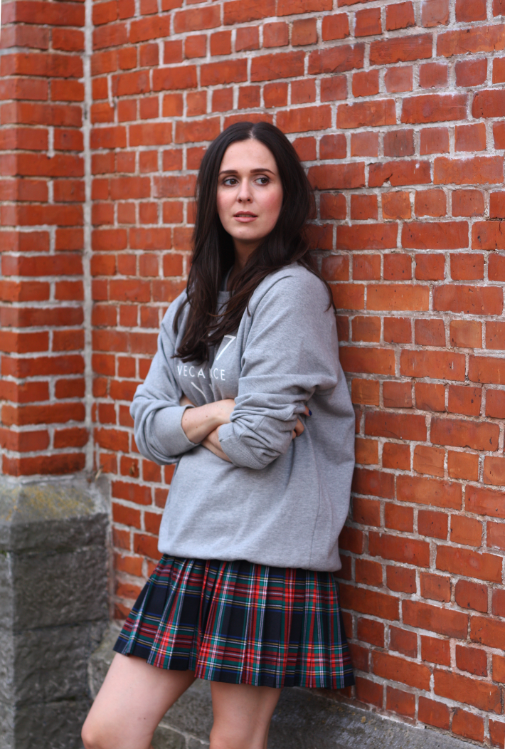 outfit sweatshirt vintage plaid skirt