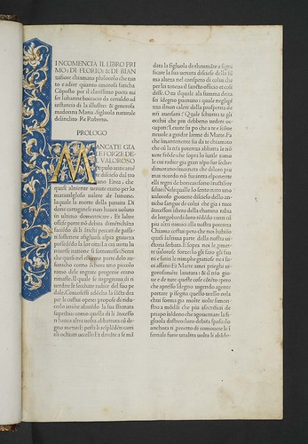 Illuminated initial and border decoration in Boccaccio, Giovanni: Il Filocolo