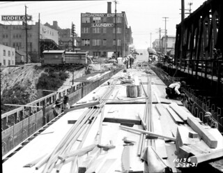Bell Street viaduct under construction, 1931