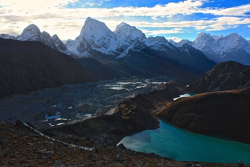 looking down on the Gokyo Lakes and Ngozumba Glacier as we climb Gokyo Ri
