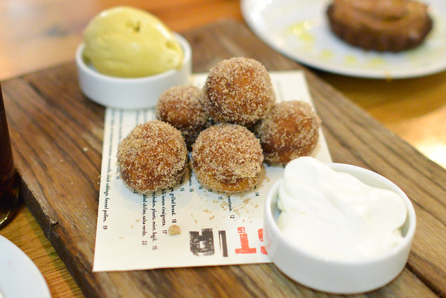 """Coffee & Donuts."" spiced chestnut zeppole. whipped cream. coffee ice cream."