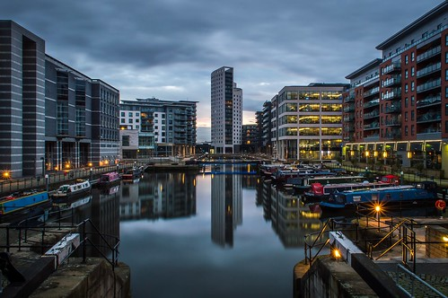 sunset reflection building tower water liverpool canal dock long exposure cloudy leeds royal clarence barge armouries
